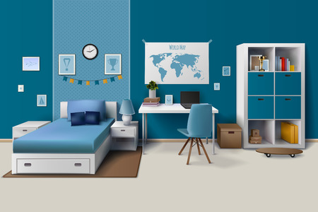 teen boy: Teen boy room interior design with trendy workspace for homework cupboard and bed in blue realistic vector illustration.
