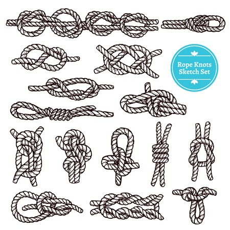 Rope knots sketch set with different hitches and bends on white background isolated vector illustration