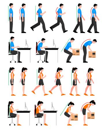 Bunte Haltungen Set mit Mann und Frau in der richtigen und falschen Positionen für Wirbelsäule isoliert Vektor-Illustration
