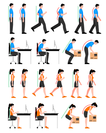 Colorful postures set with man and woman in correct and wrong positions for spine isolated vector illustration Vectores