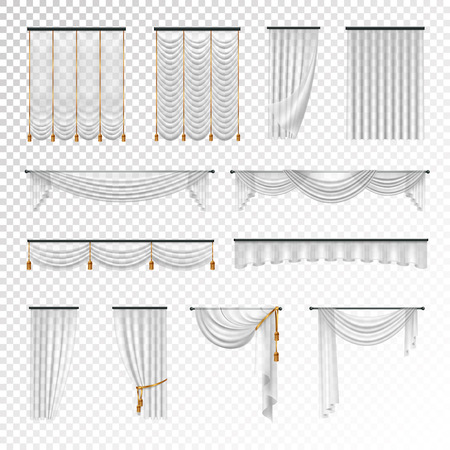 Transparent luxury curtains and draperies interior decoration design ideas realistic images collection checkered background vector illustration  イラスト・ベクター素材