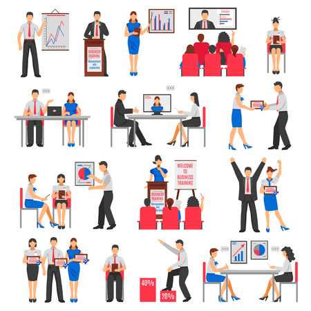 briefing: Business training set with consulting service briefing conference coaching seminar and employee development isolated vector illustration