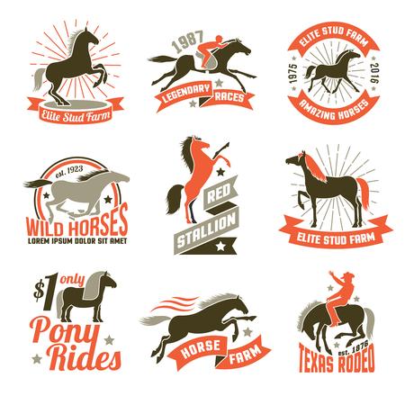 エリート スタッド農場の繁殖馬とジョッキー クラブ歴史的なレース 3 色エンブレム コレクション分離ベクトル図