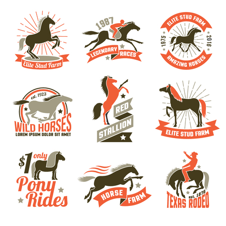 elite: Elite stud farms for horses breeding and jockey clubs historical racing three colored emblems collection isolated vector illustration