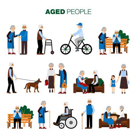Mâles et femelles personnes âgées d'âge dans différents sitiations fixés sur fond blanc plat isolé illustration vectorielle