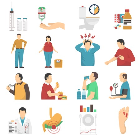 overeating: Diabetes symptoms icons set of people with weight disorders headaches suffering from thirst and overeating flat vector illustration