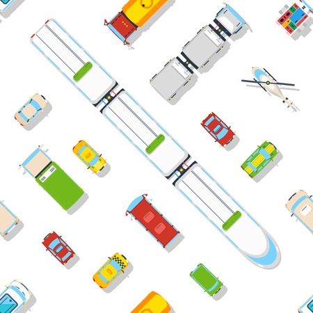 predominantly: Transport seamless pattern of different types of vehicles predominantly cars and train top view flat vector illustration Illustration