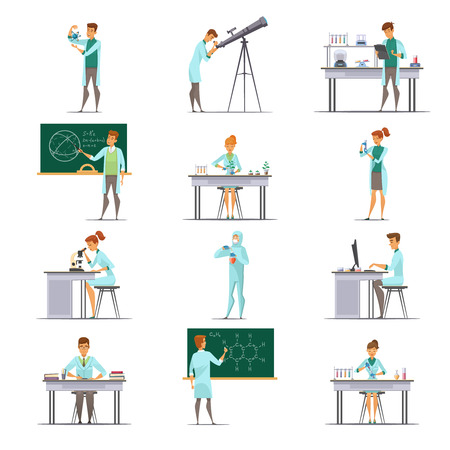physicist: Scientific laboratory research staff members retro cartoon icons collection with astronomer biologist and  nuclear physicist isolated vector illustration Illustration