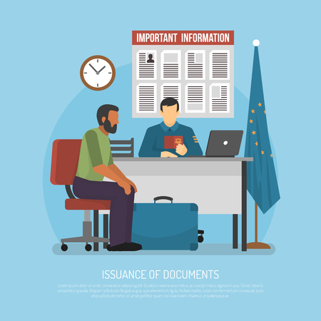 immigrant: Issuance of documents for immigrant flat vector illustration Illustration