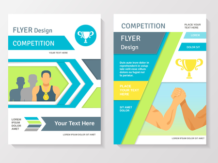 sports winner: Sports competition flyer template with winner partnership gold medals and cup vector illustration Illustration