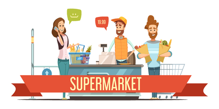 I clienti con sacchetti di carta marrone della drogheria e cassiere al supermercato contatore di verifica del registratore di cassa illustrazione del manifesto di vettore del fumetto