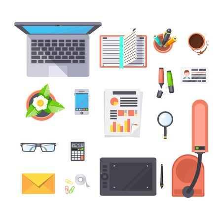 office objects: Office workplace top view objects set with laptop lamp and coffee flat isolated vector illustration
