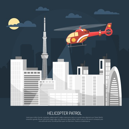 patrol: Red patrol helicopter flying over city in night sky with moon and clouds on skyscraper silhouettes background flat vector illustration