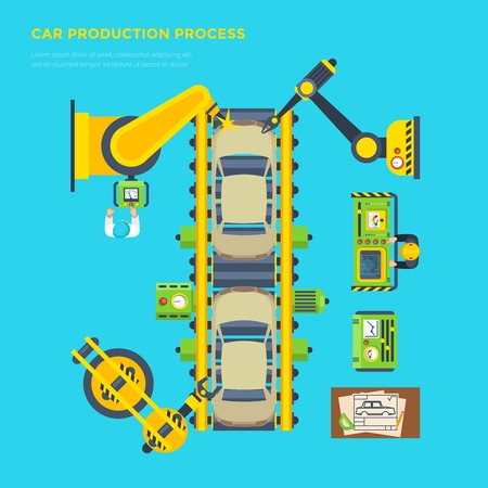 car manufacturing: Top view poster of car production process on automatic conveyor with robotic instruments flat vector illustration