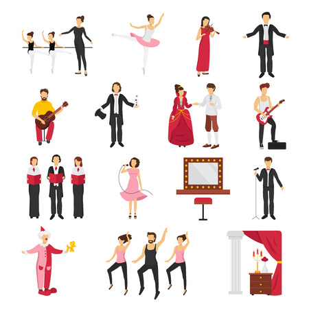 bard: Theatre people set with drama and ballet symbols flat isolated vector illustration
