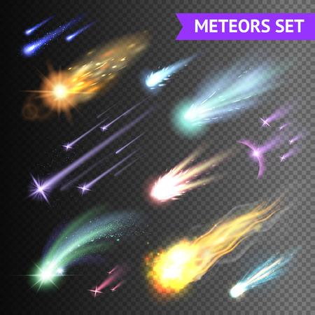 Lichteffecten collectie met kometen meteoren en vuurballen geïsoleerd op transparante achtergrond vector illustratie