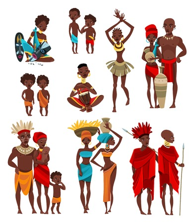 ceremonial: African traditional tribal clothing and ceremonial ritual costumes for adults and children flat icons collection isolated vector illustration