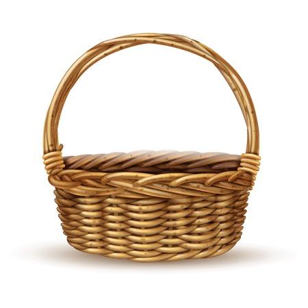 manejar: estilo rústico tradicional campesino sauce cesta con asa de primer plano vista lateral con sombra ilustración realista