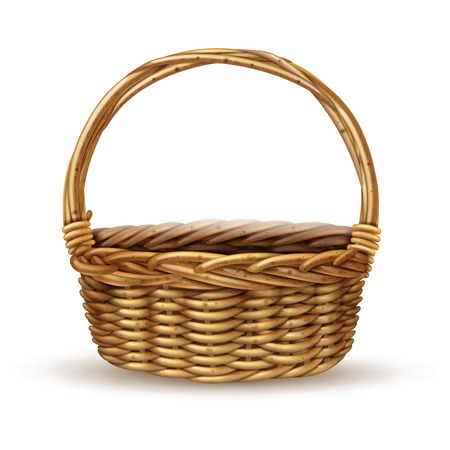 peasant: Traditional country style willow peasant basket with handle close-up side view with shadow realistic vector illustration