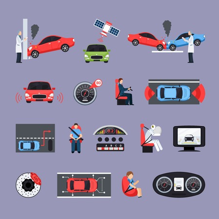 seat belt: Car safety systems icons set with crash test symbols flat isolated vector illustration