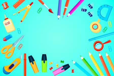 Top view stationery template with colorful office supplies on turquoise background vector illustration