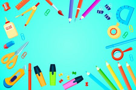 Top modèle vue de papeterie avec colorés fournitures de bureau sur fond turquoise illustration vectorielle