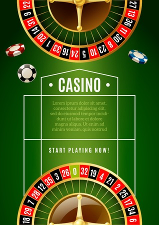 online roulette: Casino online promotion poster with roulette wheel and chips with classical green game table background vector illustration Illustration