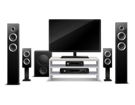 home theater: Realistic home theater concept with tv dvd-player and musical speakers isolated vector illustration