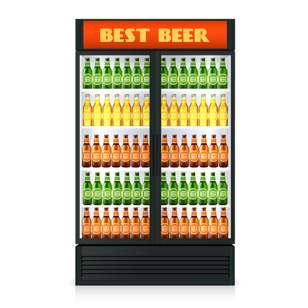 cooler: Realistic vertical freezer with transparent closed door and alcoholic drinks isolated vector illustration