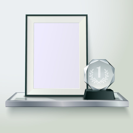 first form: Faceted round crystal glass winner trophy and photo frame on shelf realistic side view composition vector illustration Illustration