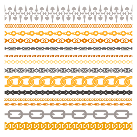 iron and steel: Colorful chains collection made of silver gold bronze steel and iron isolated vector illustration