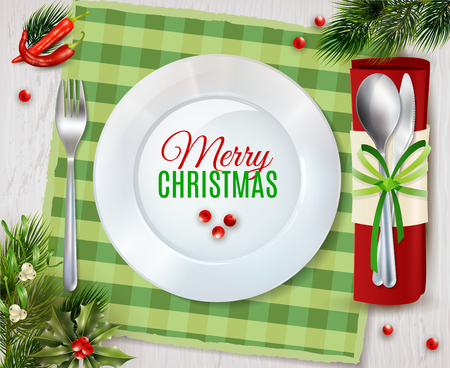 Christmas dinner table place with plate and cutlery holder for spoon and knife realistic poster vector illustration Illustration