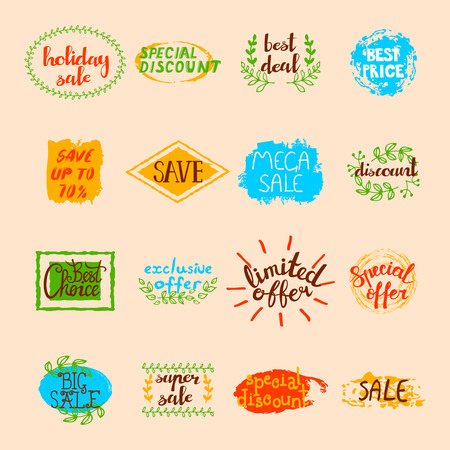 advertising signs: Sale labels set of different promotional advertising signs and elements in retro style isolated vector illustration Illustration