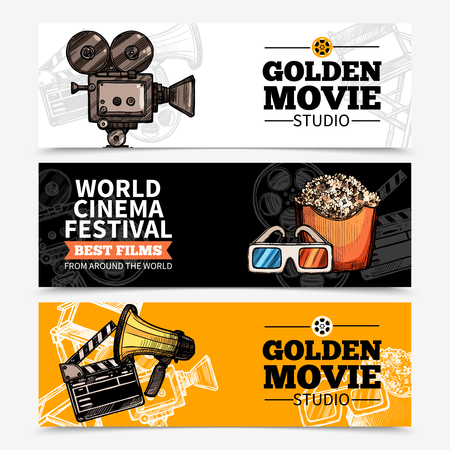 film title: Cinema horizontal banners with studio title camera clapperboard popcorn 3d glasses and megaphone vector illustration