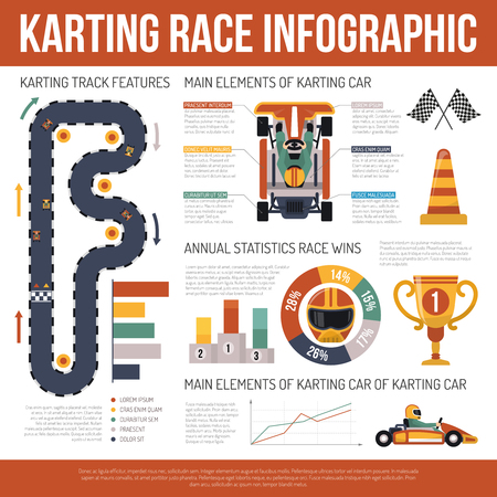 karting: Flat karting motor race infographics presenting information about track features and main elements of cars vector illustration