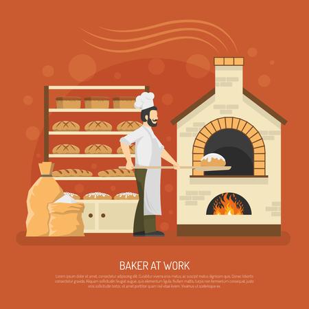 Mężczyzna piekarz pracujący w piekarni z chlebem na półkach płaskich ilustracji wektorowych Ilustracje wektorowe