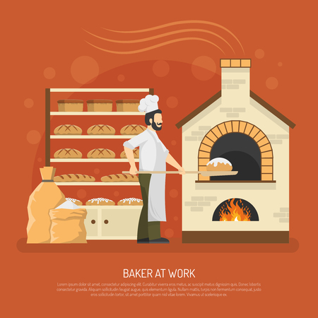 Panettiere maschio che lavora nel forno con pane sull'illustrazione piana di vettore degli scaffali Vettoriali