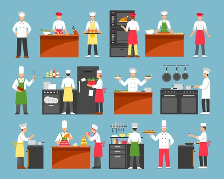 Professional cooking decorative icons set with chefs at cooker and waiters with trays isolated vector illustration