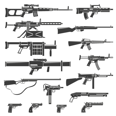 Flat design weapons guns rifles and pistols monochrome set isolated vector illustration