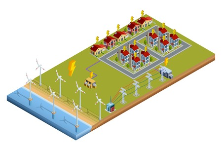 consumers: Environment friendly clean wind turbine electrical power generator station isometric layout banner with consumers houses vector illustration