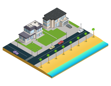 residential zone: Isometric composition with two suburban houses near sand beach on white background vector illustration