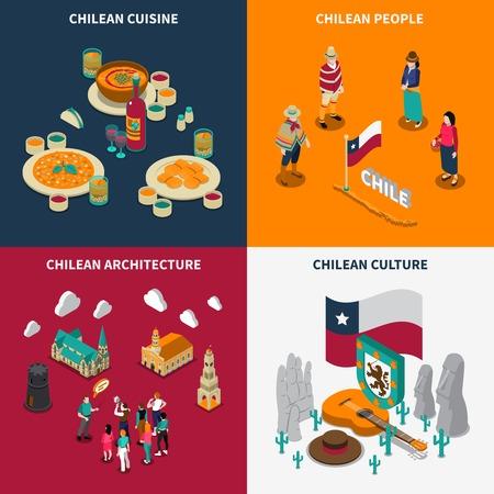 チリ観光観光客 4 等尺性のアイコン広場ポスター国立文化料理とランドマーク分離ベクトル図