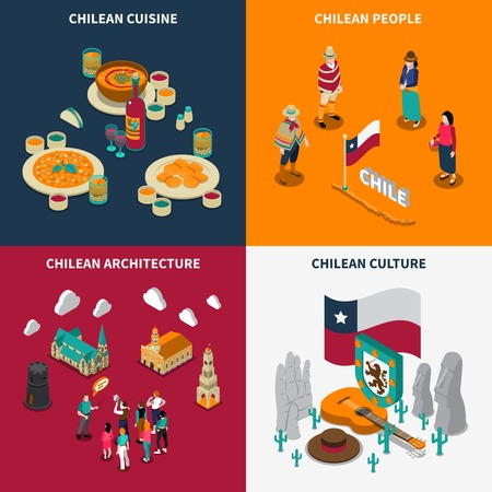 Chili attractions for tourists 4 isometric icons square poster with national culture cuisine and landmarks isolated vector illustration