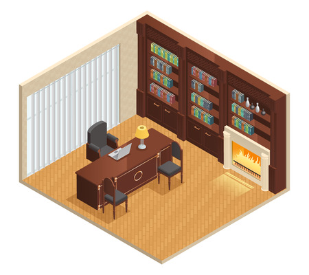 luxury furniture: Isometric luxury interior for study with furniture laptop and decorations on white background vector illustration