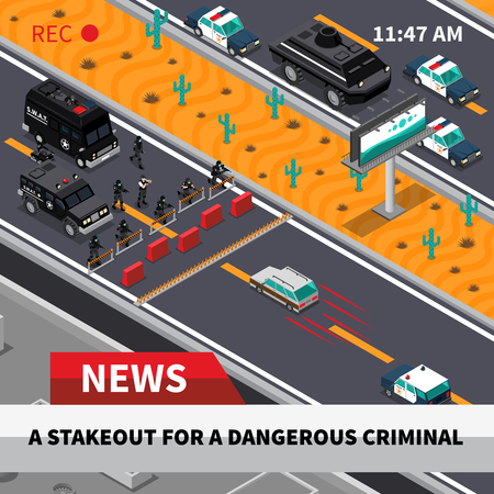 tv unit: Swat special weapon and tactics unit confrontation with dangerous criminals tv news isometric composition screenshot vector illustration Illustration