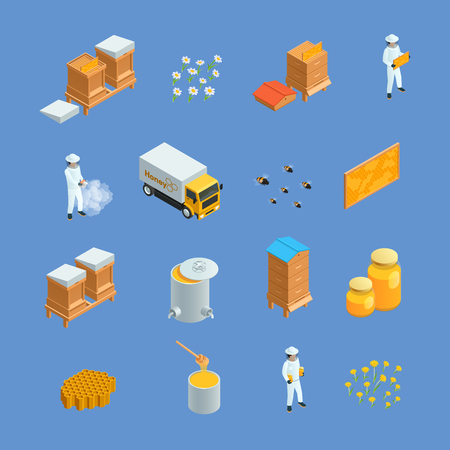 apiarist: Isometric icons set of different beekeeping apiary elements like honey bee hives apiarist isolated vector illustration