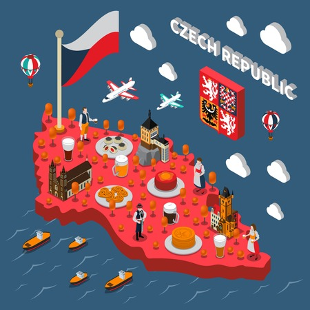 clock tower: Czech republic isometric map for travelers with typical national food beer and astronomical clock tower vector illustration Illustration