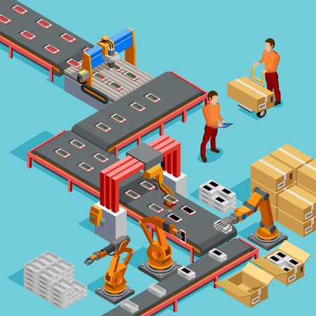 Linha de montagem de fábrica automatizada com braço robótico e correia transportadora controlado processo de fabricação ilustração em vetor isométrica cartaz