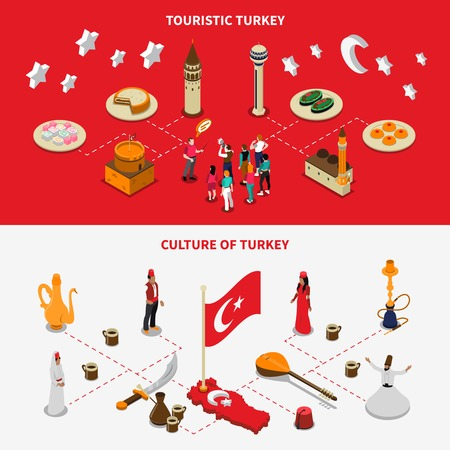 Turkish culture and touristic attractions 2 isometric horizontal banners with tea coffee sweets and mosque Illustration
