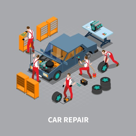 print shop: Automobile repair shop with  car undergoing maintenance service in garage isometric composition poster print abstract vector illustration